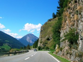 St Bernard Tunnel Approach Road, Switzerland - heading north
